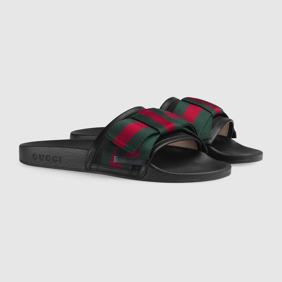 27b73fb5cc8 Gucci Satin slide with Web bow Detail 2