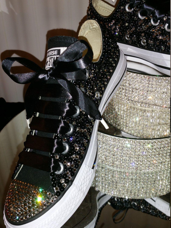 Black Pearl and Black Diamond Crystal Wedding Converse Shoes ... 2cd79aa7fcab