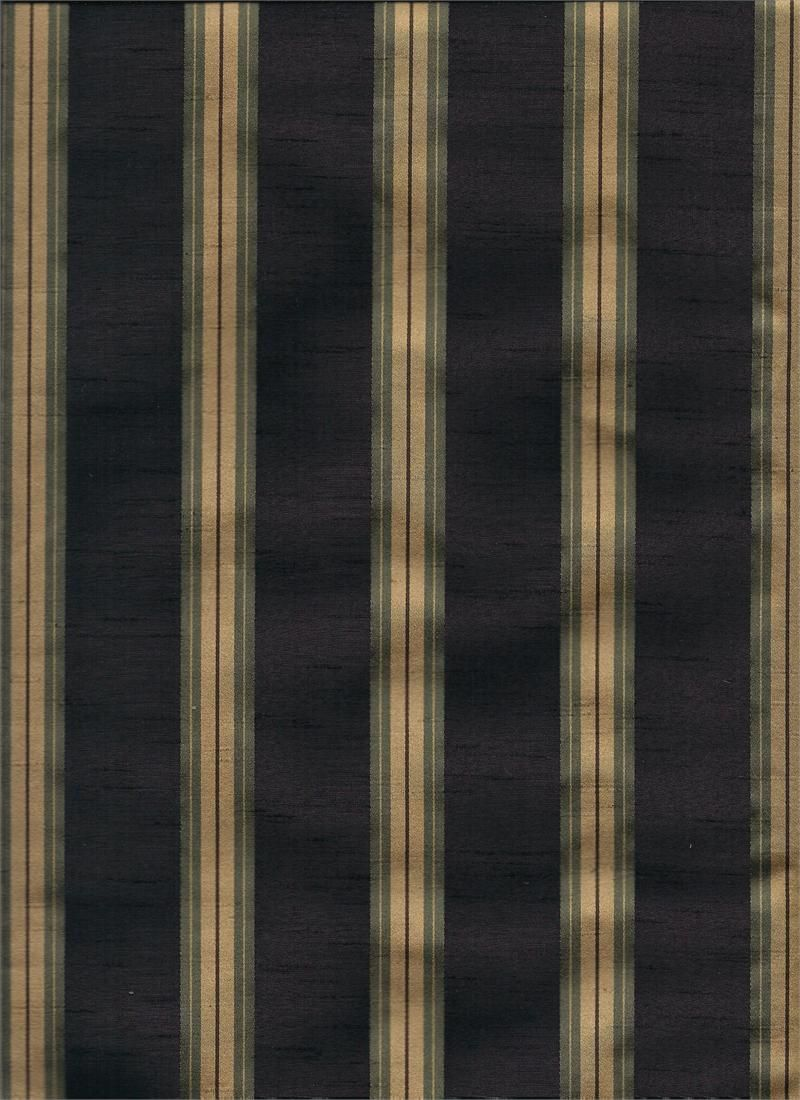 Priene Night Navy Blue And Gold Color Stripes Fabric For Custom Draperies Valances Swags