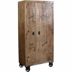 Dielenkleiderschrank aus Mangobaum Massivholz mit Rollen Möbel Exclusive