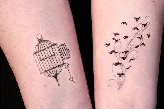 Bird Cage Tattoo Open Cage And Birds In Flight Temporary Tattoo Set By Tattoomint On Tatuajes De Jaula Tatuajes Al Azar Tatuajes De Moscas