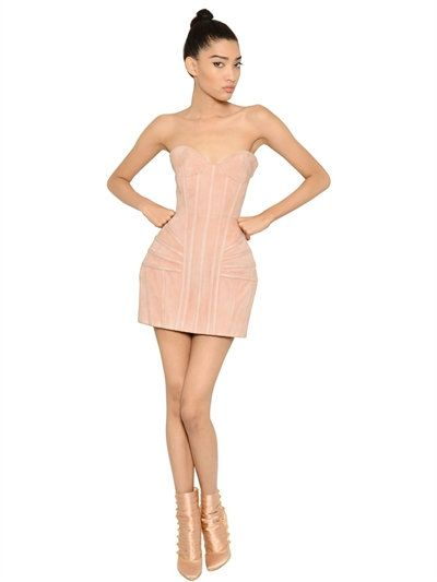 354377ca7b BALMAIN - SUEDE BUSTIER DRESS WITH STRUCTURED HIPS - DRESSES - NUDE -  LUISAVIAROMA - Strapless. Sweetheart neckline. Gold colored back zip  closure .