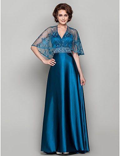 9d3e0855f Vestido Madrina Azul de Satén con Encaje   Vestidos de Fiesta Baratos