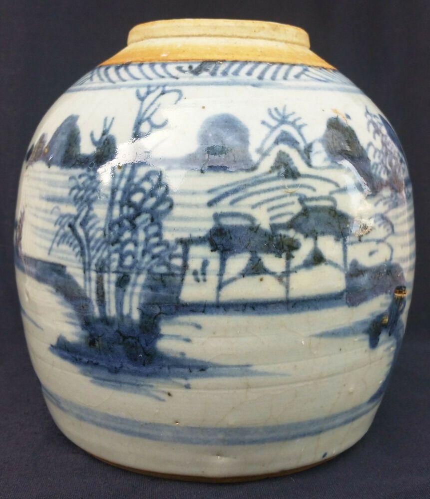 Authentischer Porzellan Ingwertopf Niederlande Delft Mitte 18tes Chinois Decorative Jars Vase Jar
