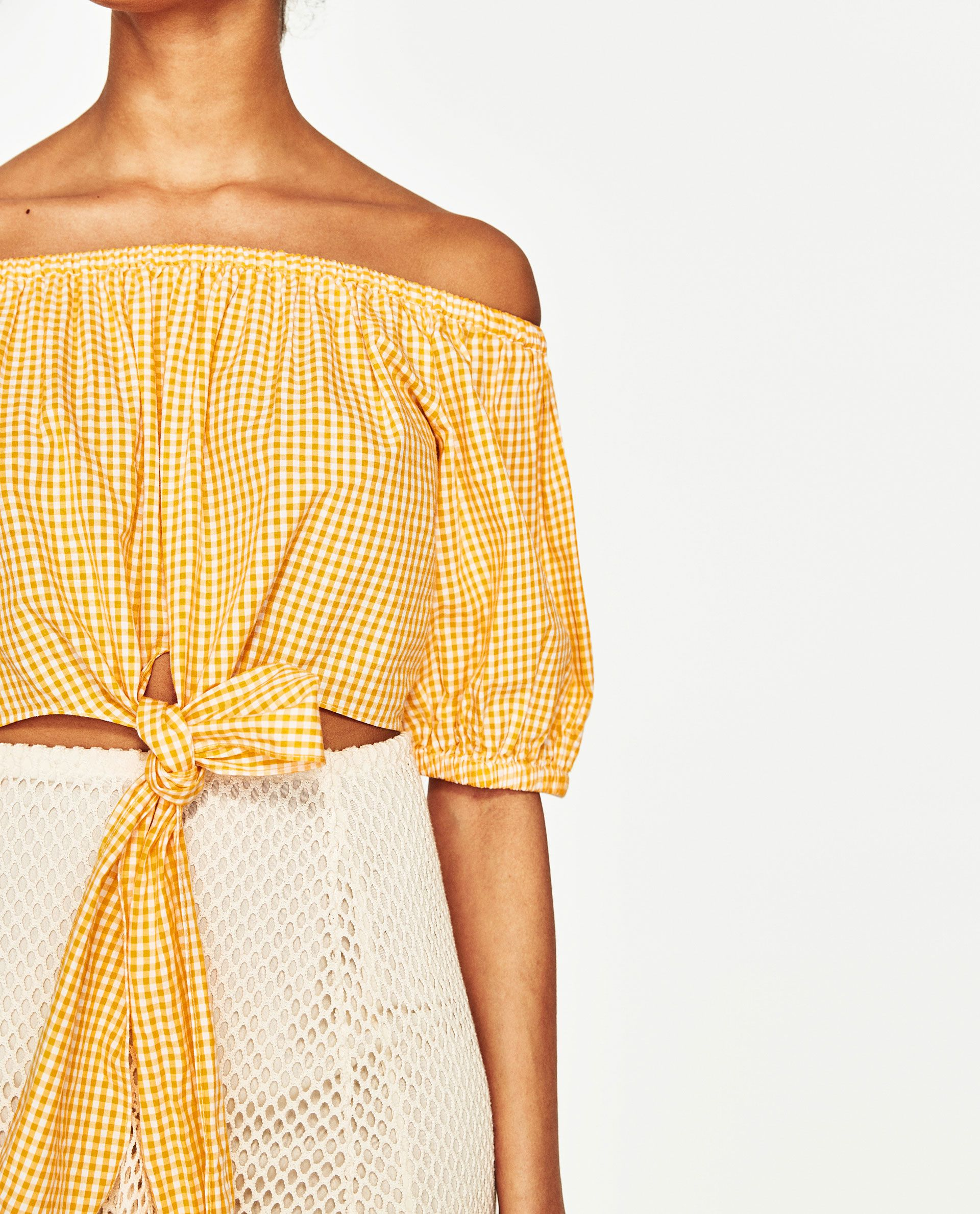 1931acd4dab Image 6 of OFF-THE-SHOULDER GINGHAM TOP from Zara | A : Closet ...