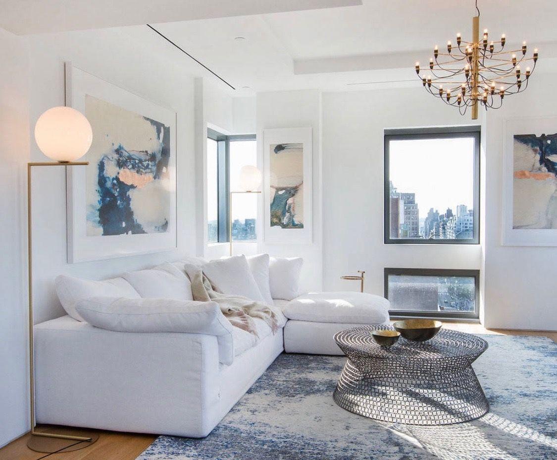 Cozy Bright White Living Room Decor With Comfy Sectional White Living Room Decor White Sofa Living Room Gray Living Room Design