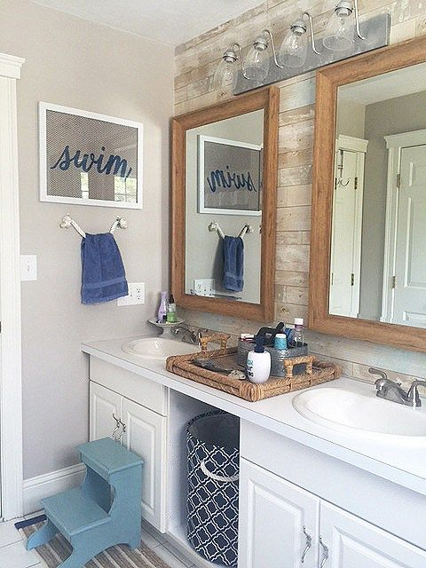 Photo of nautical bathroom reveal
