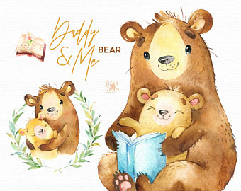 Daddy Me Fox Watercolor Animals Clipart Father Hugs Etsy Animal Clipart Bear Watercolor Watercolor Animals