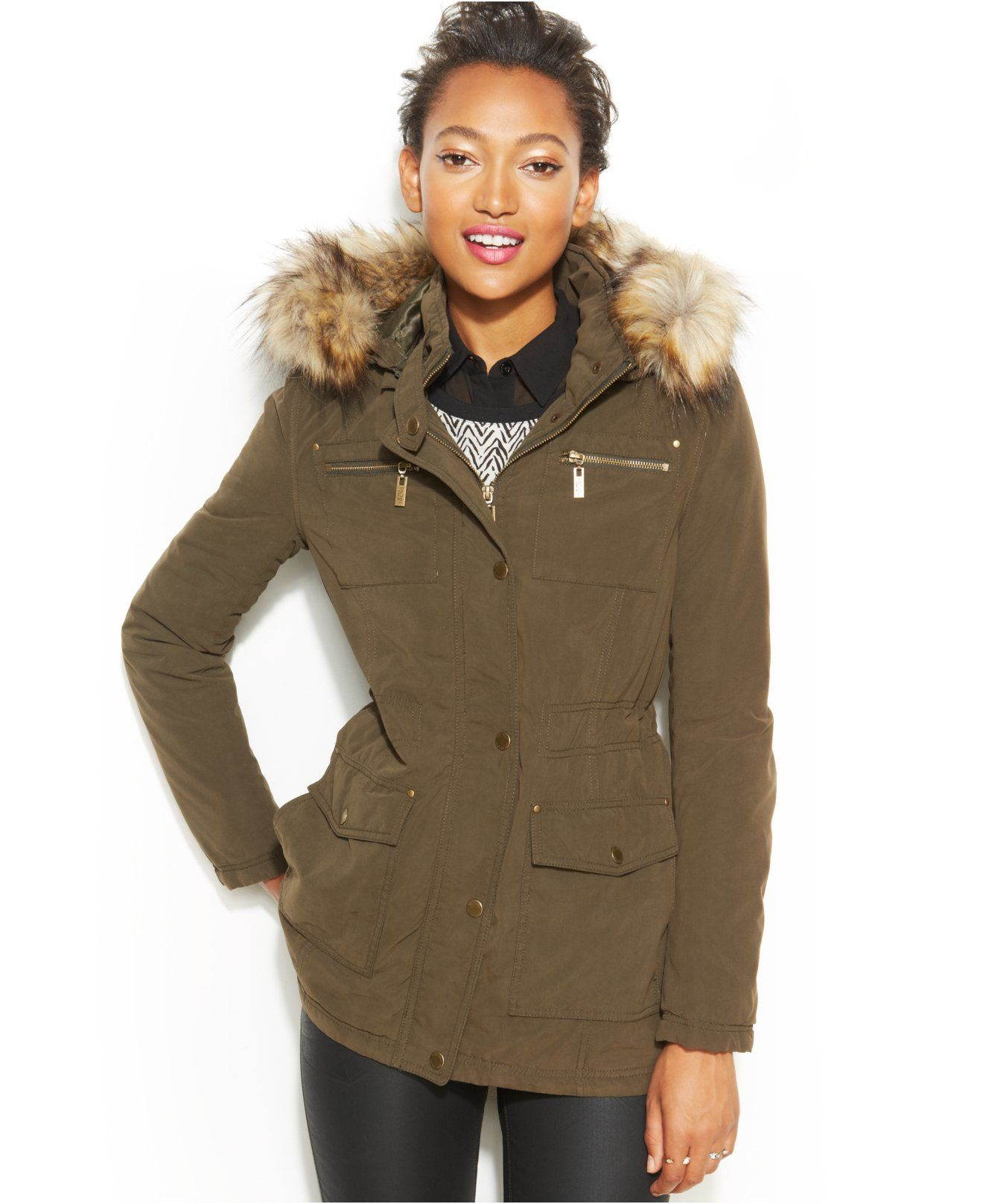 RACHEL Rachel Roy Faux-Fur-Trim Military Parka - Coats - Women ...
