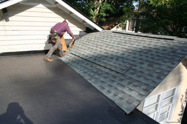 A New Gaf Timberline Hd Shingle In Slate Transitions Into A New Flat Roof With Epdm Rubber Membrane On A Recen Roofing Craftsman Style Home Roofing Contractors