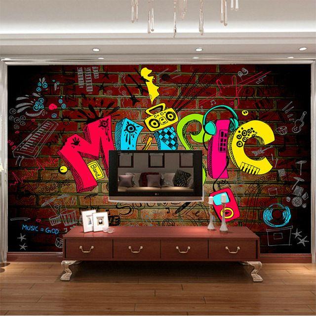 Unisex Bedroom Wallpaper Graffiti Bedroom Design Ideas Bedroom Bed Curtains Bedroom Athletics Beatrice Harris Tweed Moccasin Slipper: Music Graffiti Photo Wallpaper 3D Wallpaper Bedroom Kid