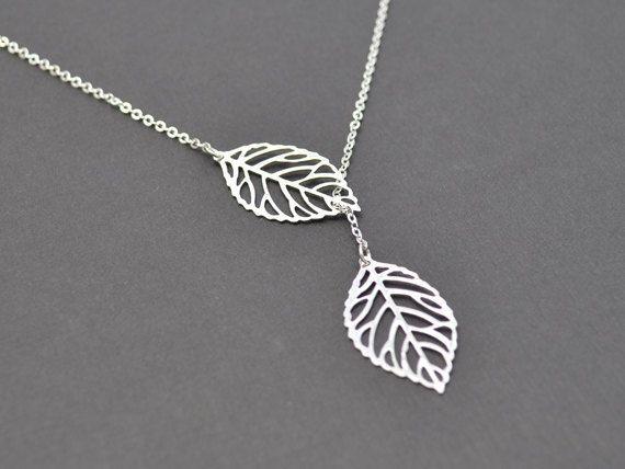 Modern leaf necklace by LilliDolli on Etsy, $21.00