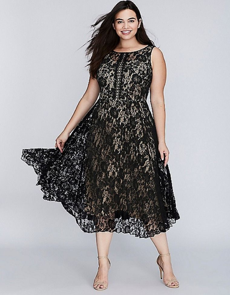 ad2a733b9c4 LANE BRYANT Pleated Lace Dress Womens14 16 18 20 22 24 26 28 Black Nude  Illusion