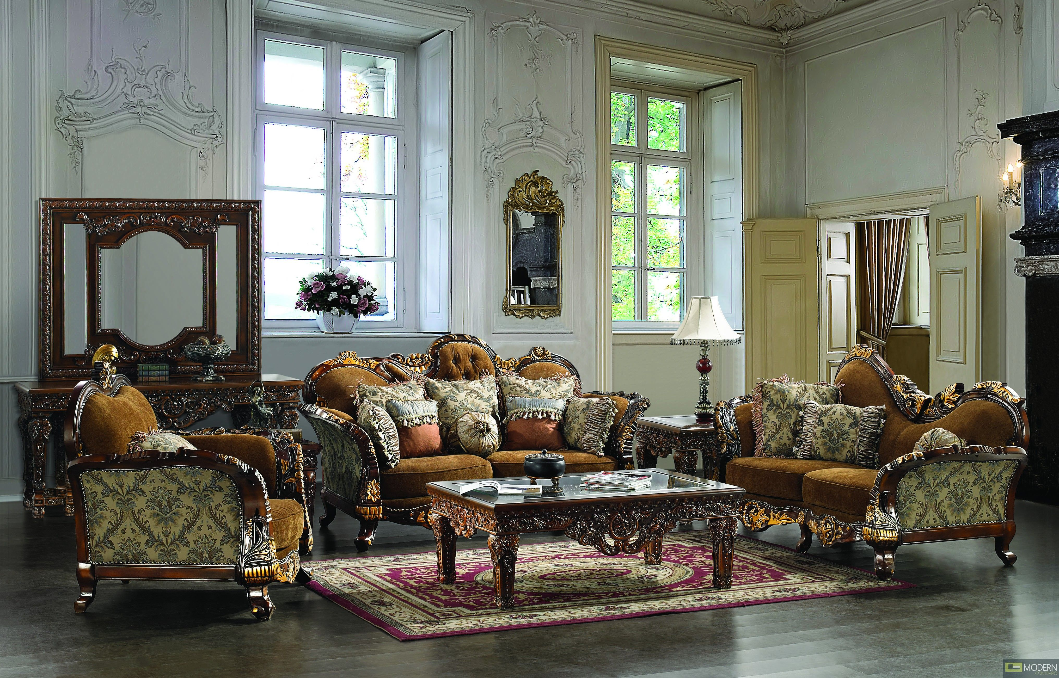 French formal living room - Perfect French Formal Living Room Furniture Ideas With Large Square Windows As Well As Dark Wooden Flooring Ideas
