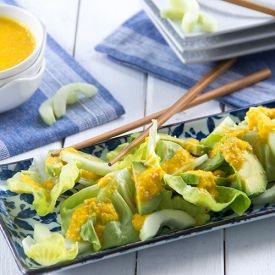A fresh summer twist on the avocado cucumber roll! Crisp cucumber and creamy avocado salad with easy carrot-sesame dressing.