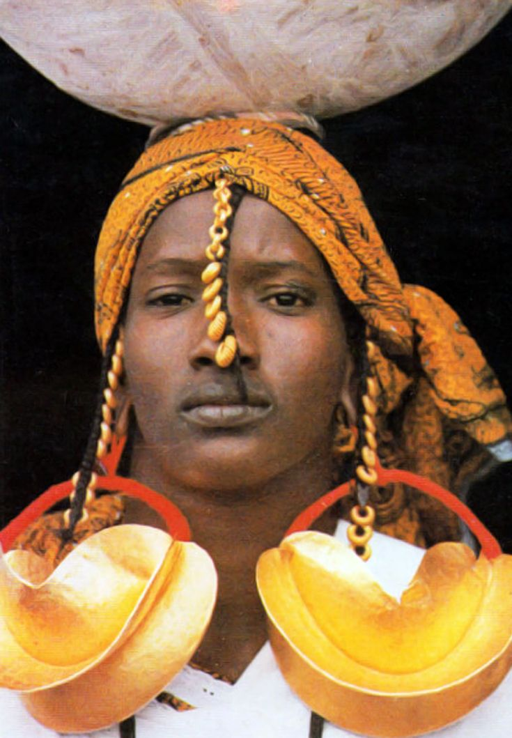 West Africa Fulani Woman From Mali Wearing Traditional Gold Earrings Postcard Ca 30 Yrs Old World Cultures