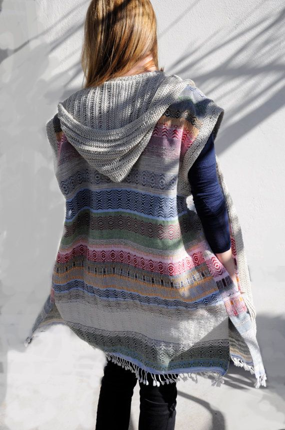 Hand woven vest Woven cotton vest Hand woven poncho by Milltwill