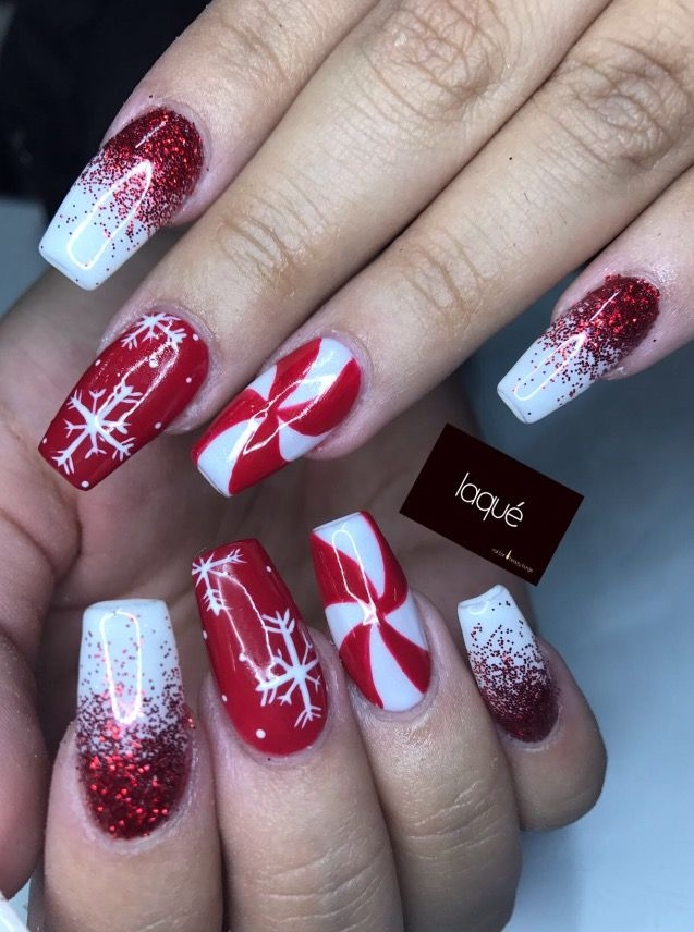 Red And White Glitter Christmas Nails Christmas Nails Easy Christmas Gel Nails Christmas Nail Art Designs