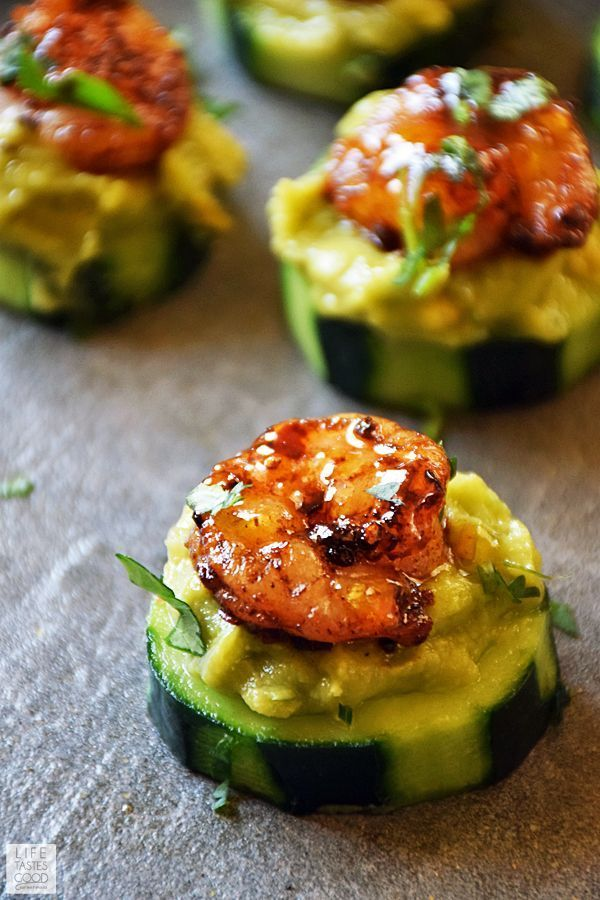 Cucumber Bites with Creole Shrimp and Guacamole #menus