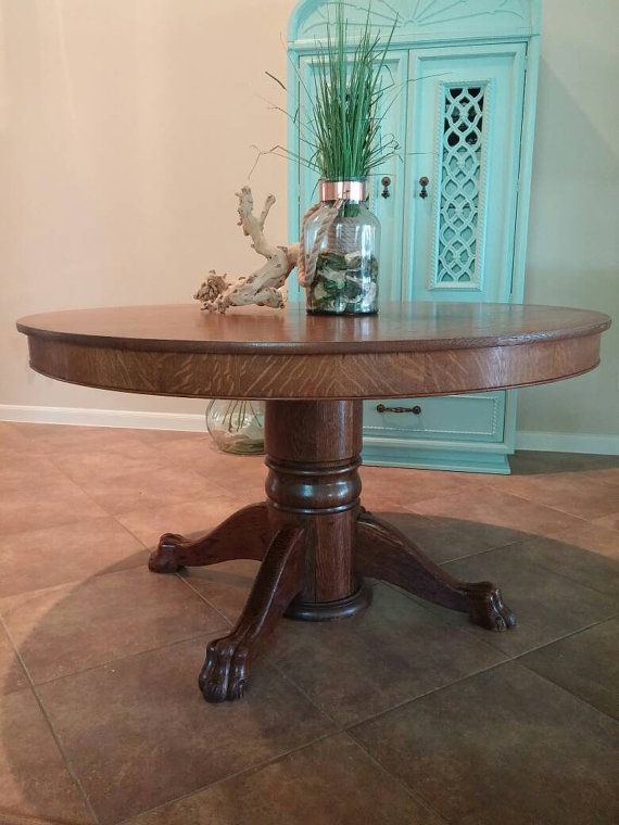 Antique Round Dining Table Tiger Oak Claw Foot Pedestal Dining
