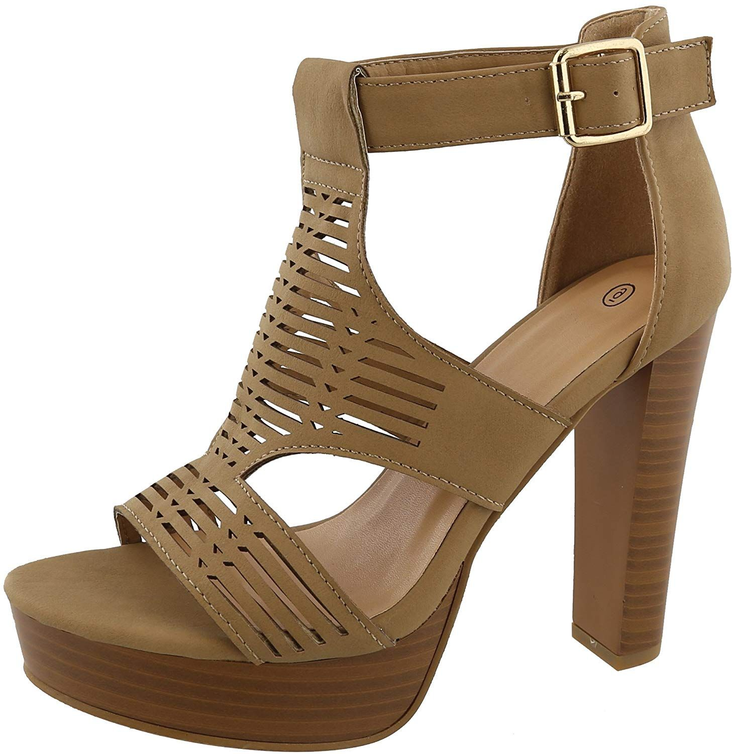 44aa0f21a6de3 Cambridge Select Women's Caged Laser Cutout Open Toe Buckled Ankle ...