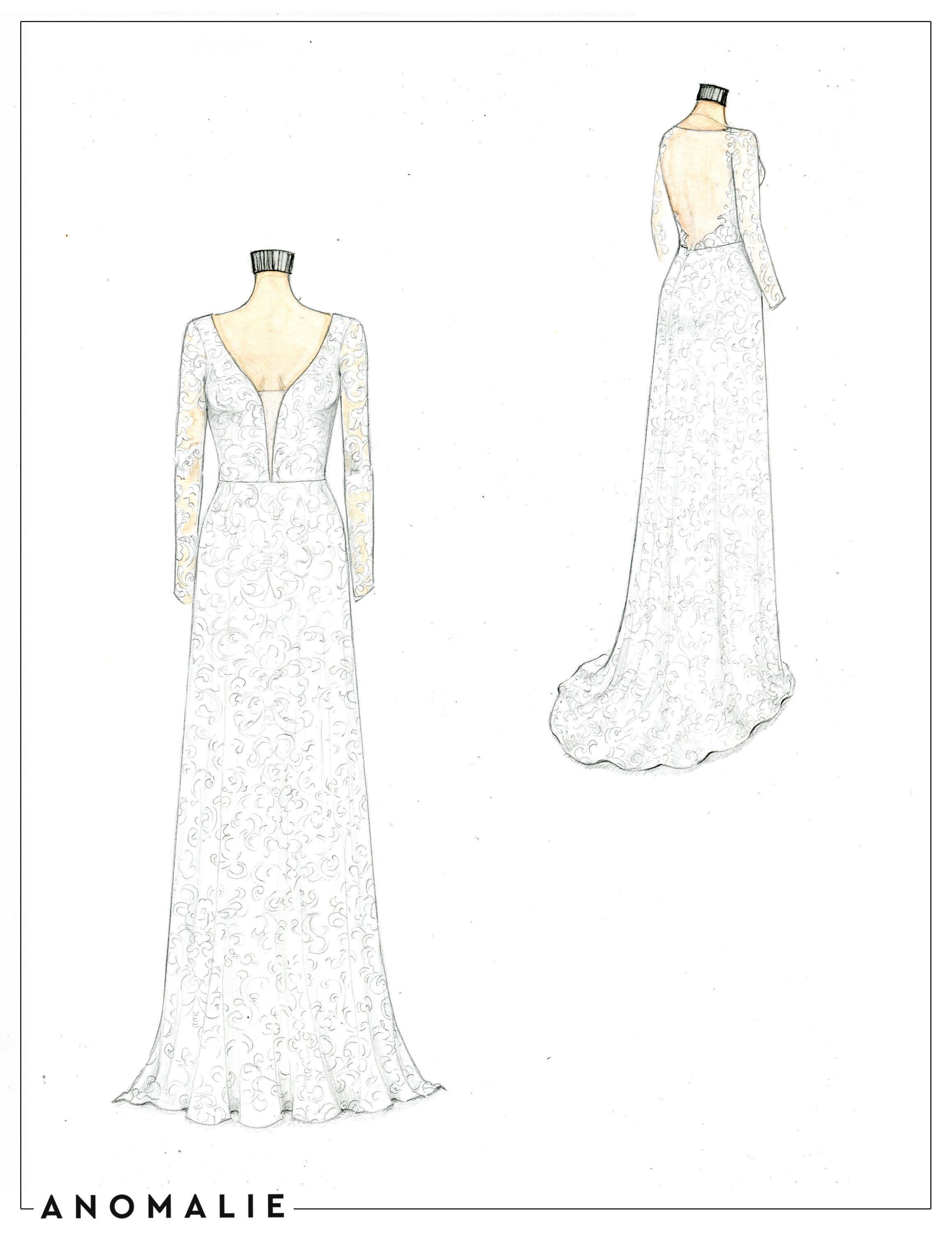 Anomalie Custom Sheath Wedding Dress Sketch With Court Train Long Sleeves And Sheer Illusio Wedding Dress Sketches Wedding Dress Illustrations Dress Sketches
