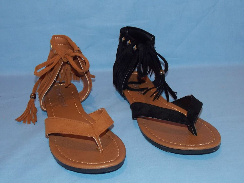 women's ankle cuff flat sandal with fringe accessories #beautymax #FlipFlops