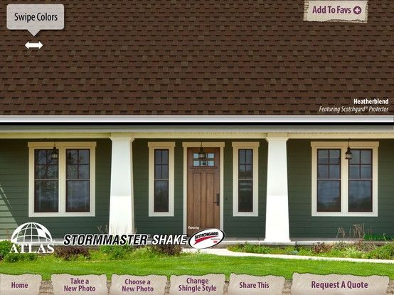 Swipe Colors And Change Shingle Styles In 2020 Shingle Colors Visualizer App Outdoor Decor