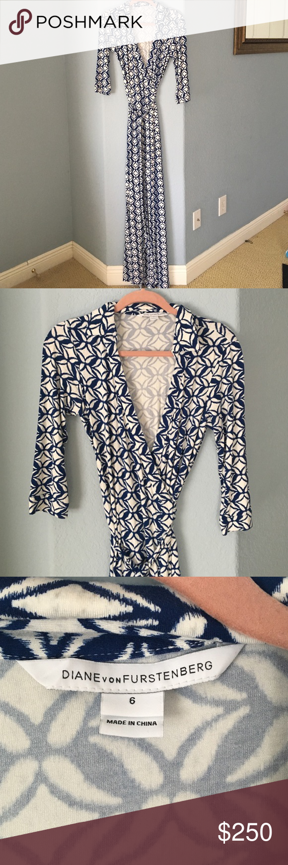 Classic Diane Von Furstenberg Maxi Wrap Dress sz 6 Beautiful patterned maxi wrap dress sz 6. Fits like a dream like all DVF dresses. Very lightly worn. Diane von Furstenberg Dresses Maxi