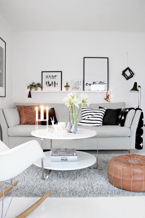 Un salon chaleureux et épuré - Blanc Noir Gris & Cuir