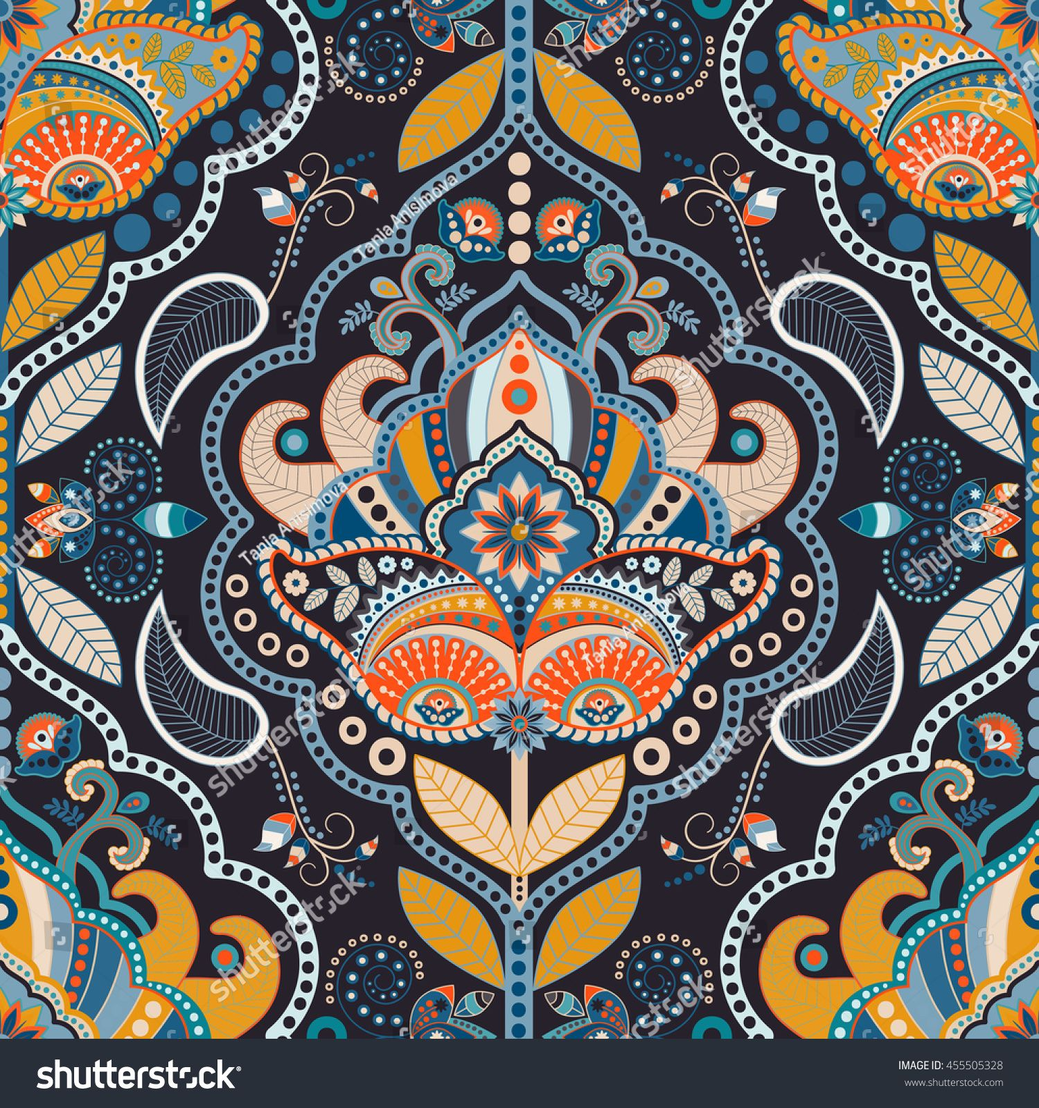 Paisley Floral Seamless Pattern Dark Backdrop With Indian Decorative Elements