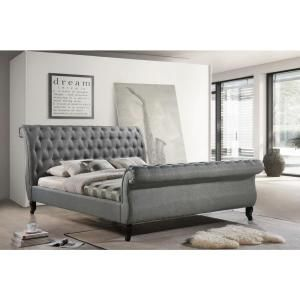 Best Luxeo Nottingham Gray King Sleigh Bed Lux K6317 Gry In 400 x 300