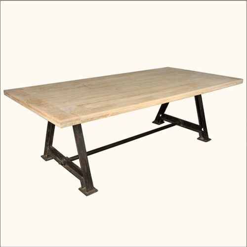 Rustic Large Dining Room Table Industrial Iron Pedestal Hardwood - Pedestal conference table
