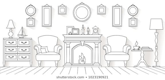 Vector Living Room In Outline Style Linear Interior With