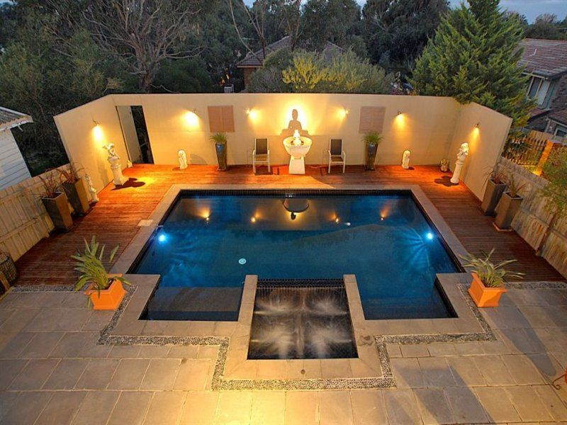 Modern Landscape Lighting Ideas Around Small Pool With Deck For Backyard