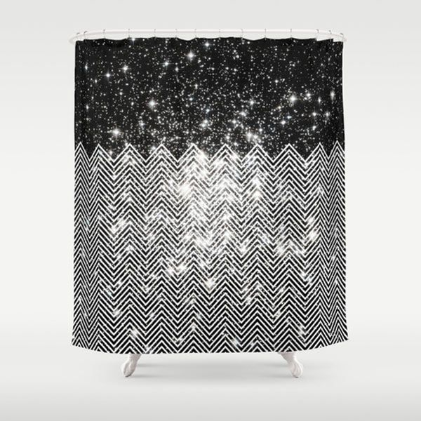 black white chevron shower curtain. Chevron Universe shower curtain by Paula Belle Flores Fresh From The Dairy  Shower Curtains Curtain ideas and