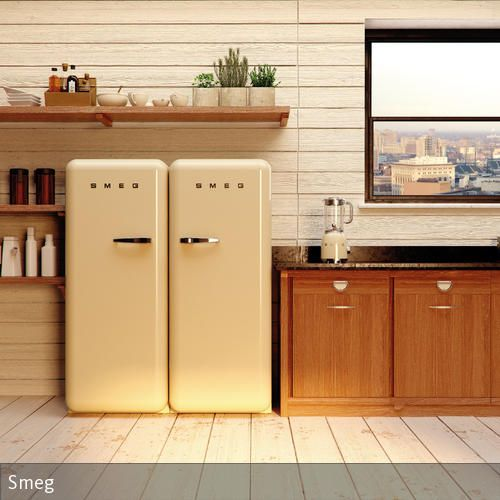Retrokühlschränke  Retro-Kühlschränke in heller Küche   Retro