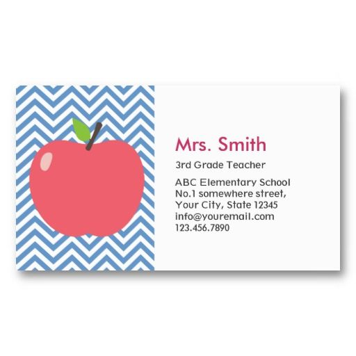 Substitute teacher business card template cute apple blue teacher business card templates cheaphphosting Image collections