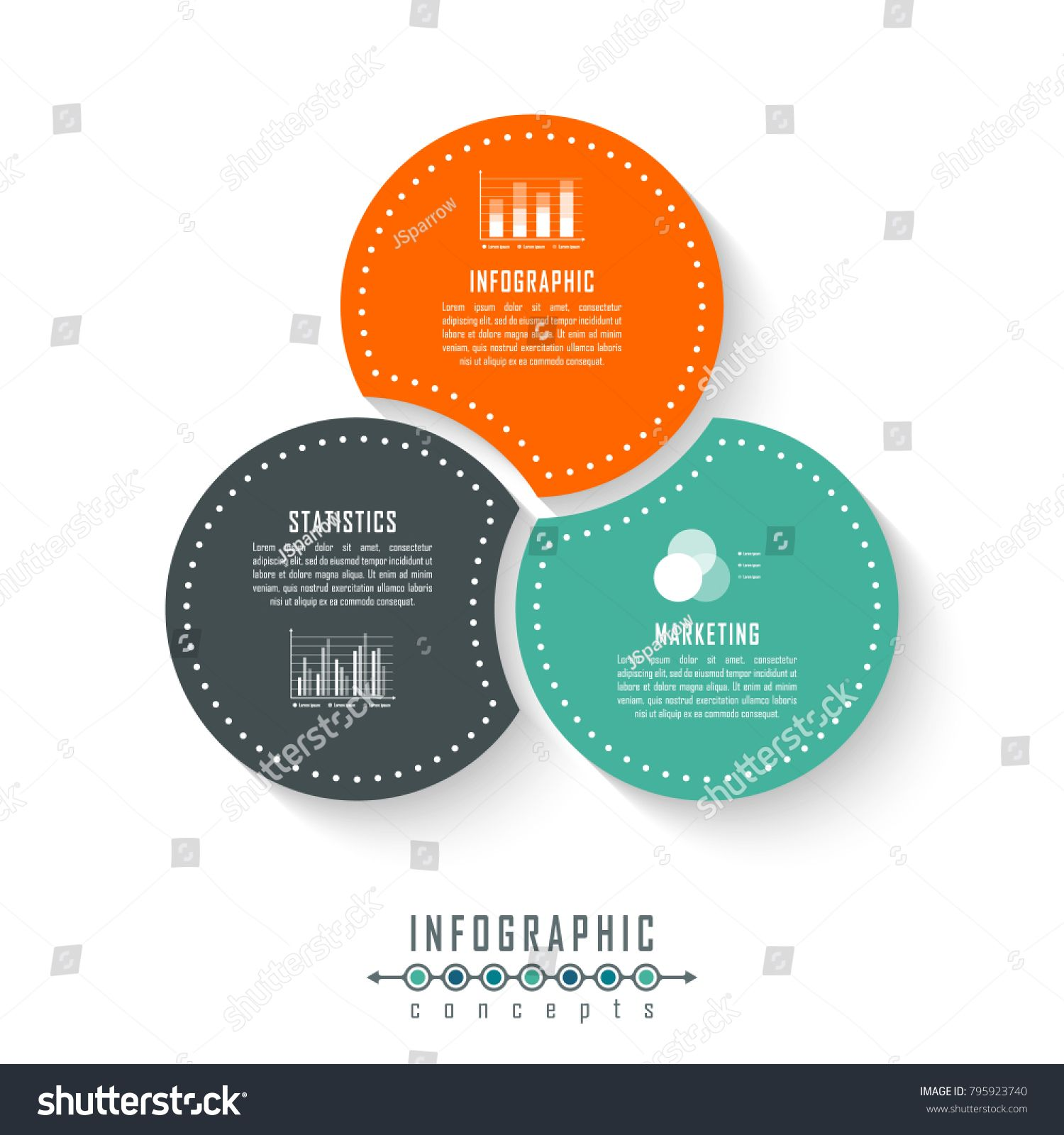Vector Circle Infographics Template For Round Chart Diagram Web Design Presentation Workflow Layout Bus Poster Design Inspiration Infographic Chart Design