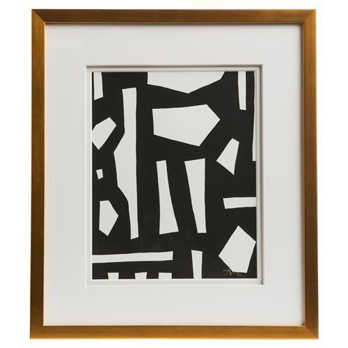 Peyton modern classic black white gold frame wall art iii