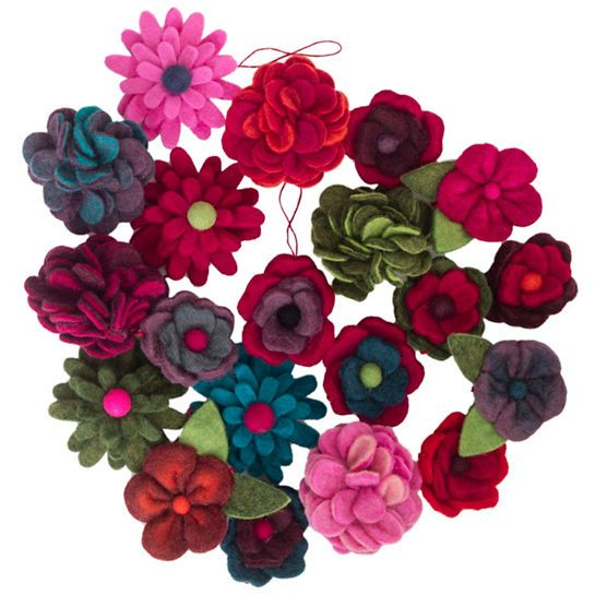 Deck the table, the tree, or a gift with these whimsical, hand-crafted wool felt flowers.