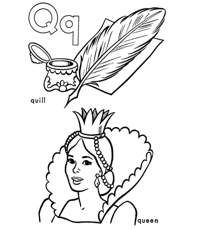 Q For Quill And Queen Coloring Pages Quilling Coloring Pages