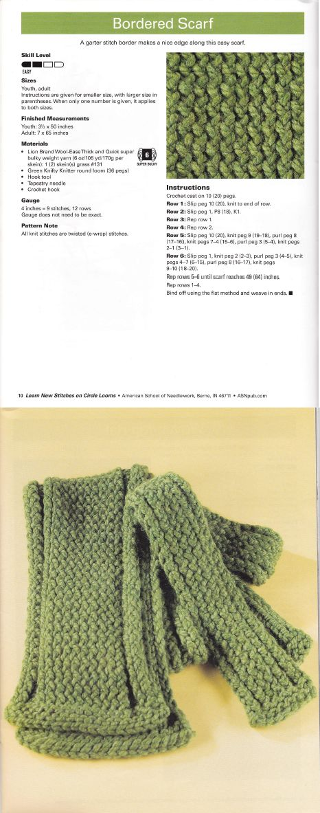 Learn New Stitches on Circle Looms by Anne Bipes: Bordered Scarf