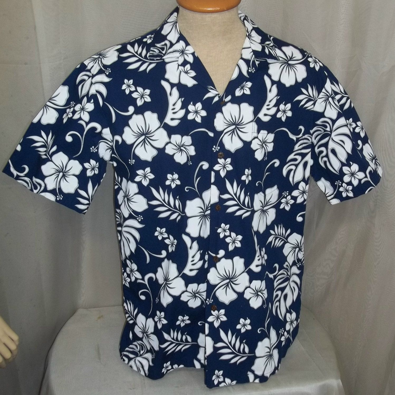 4da452dd Vintage Men's Aloha Republic Hawaiian Shirt L Large Blue White Floral Print  Hawaii EUC by ShonnasVintage on Etsy