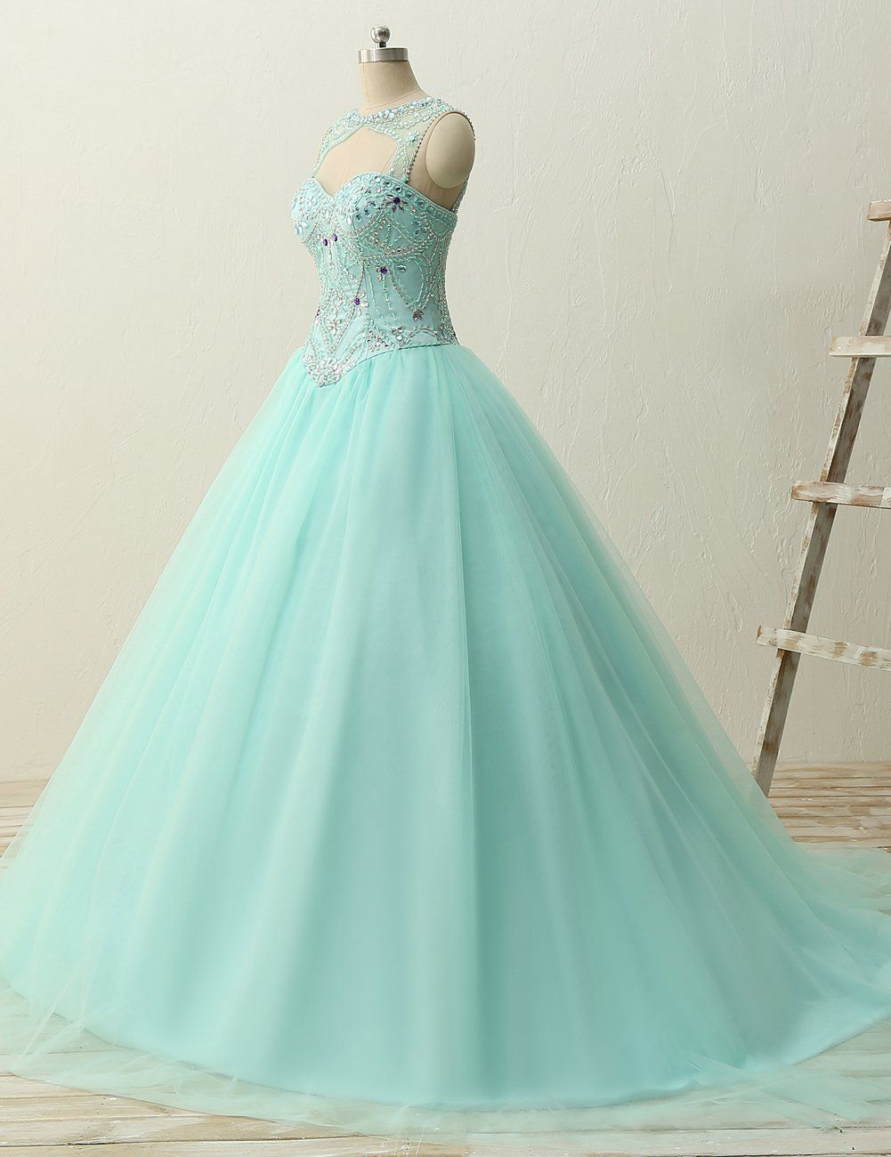 Jaeden ball gown quinceanera dresses beading tulle long prom dress