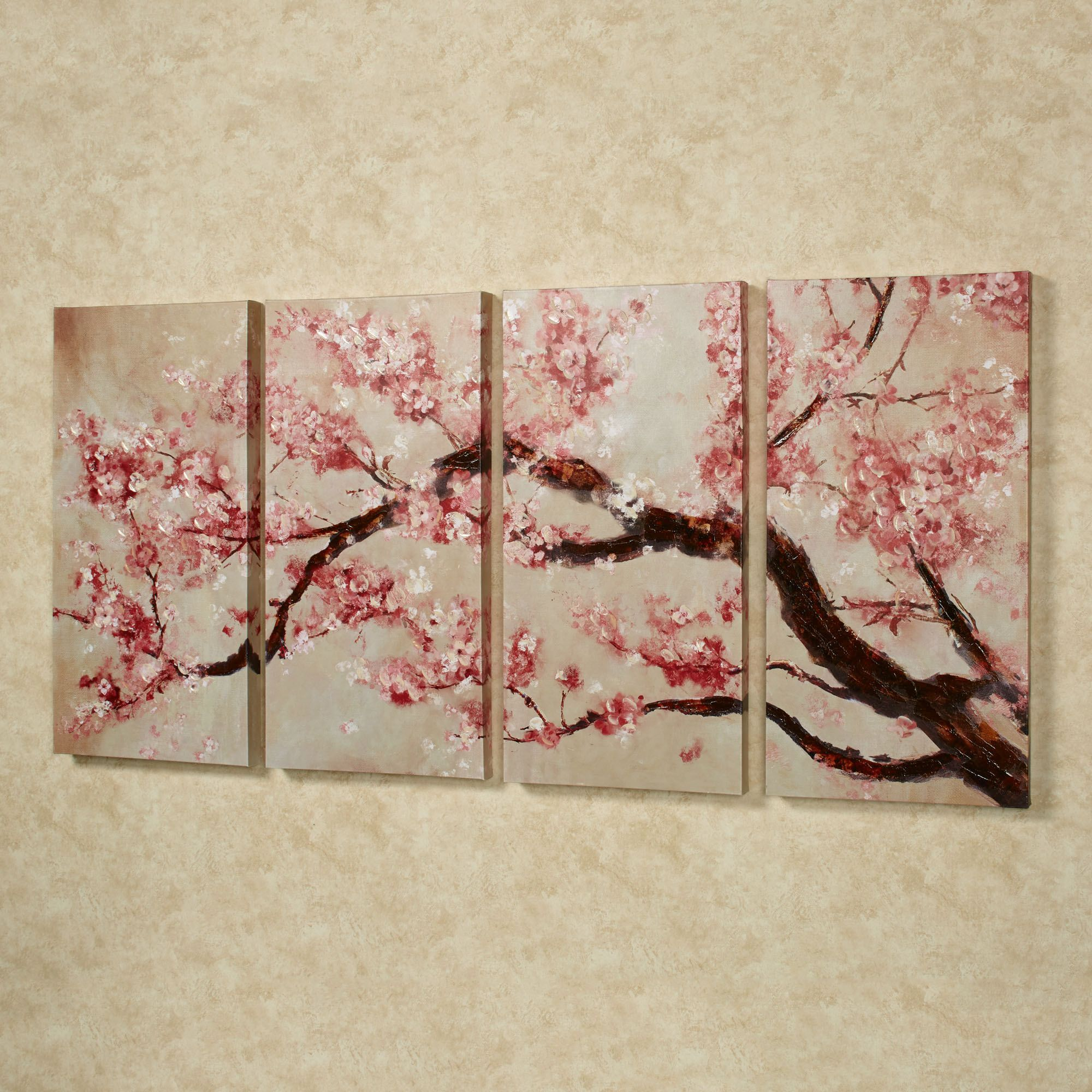 Cherry Blossom Tree Quadtych Canvas Art Set | Bedroom ...