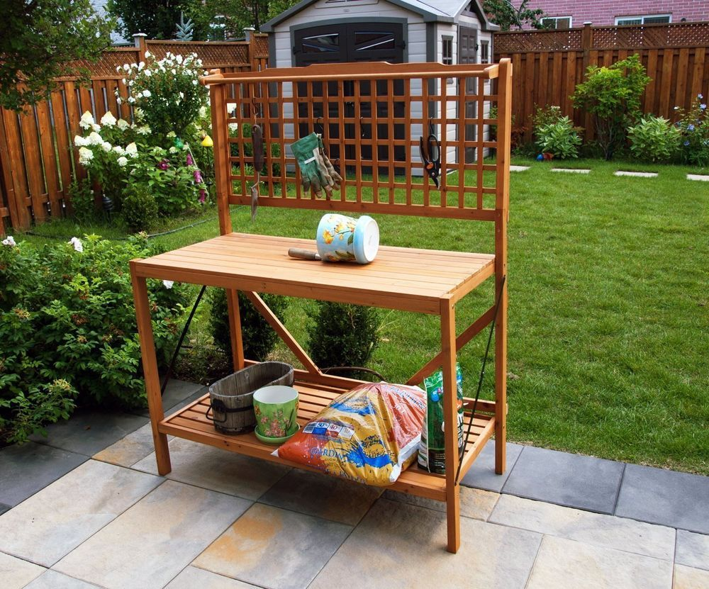 Foldable Potting Bench Wooden Garden Storage 2 Tier Bottom Shelf Natural Color Merryproducts Potting Bench Outdoor Buffet Tables Outdoor Buffet