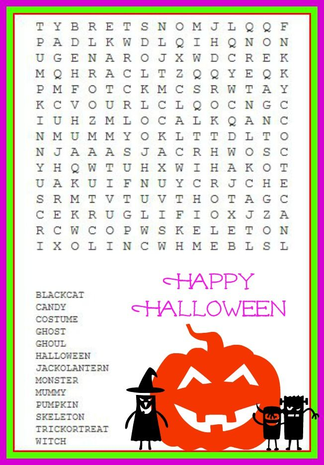 Halloween Word Search for Little Monsters ( kids ) #halloween ...