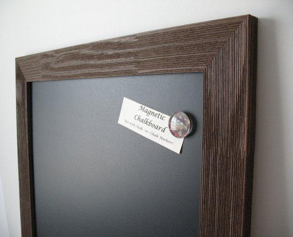 RUSTIC BROWN Framed CHALKBOARD Large Magnetic Wedding Kitchen