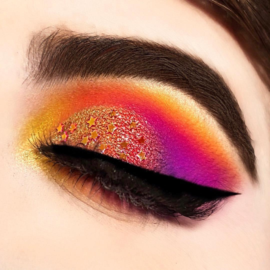 Sunset Eye Glitter Stars Purple Pink Orange Yellow Eyeshadow